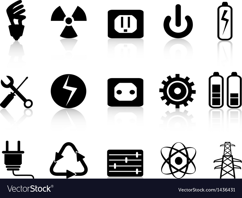 Electricity and power icons set vector | Price: 1 Credit (USD $1)