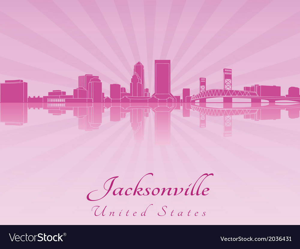 Jacksonville skyline in purple radiant orchid vector | Price: 1 Credit (USD $1)