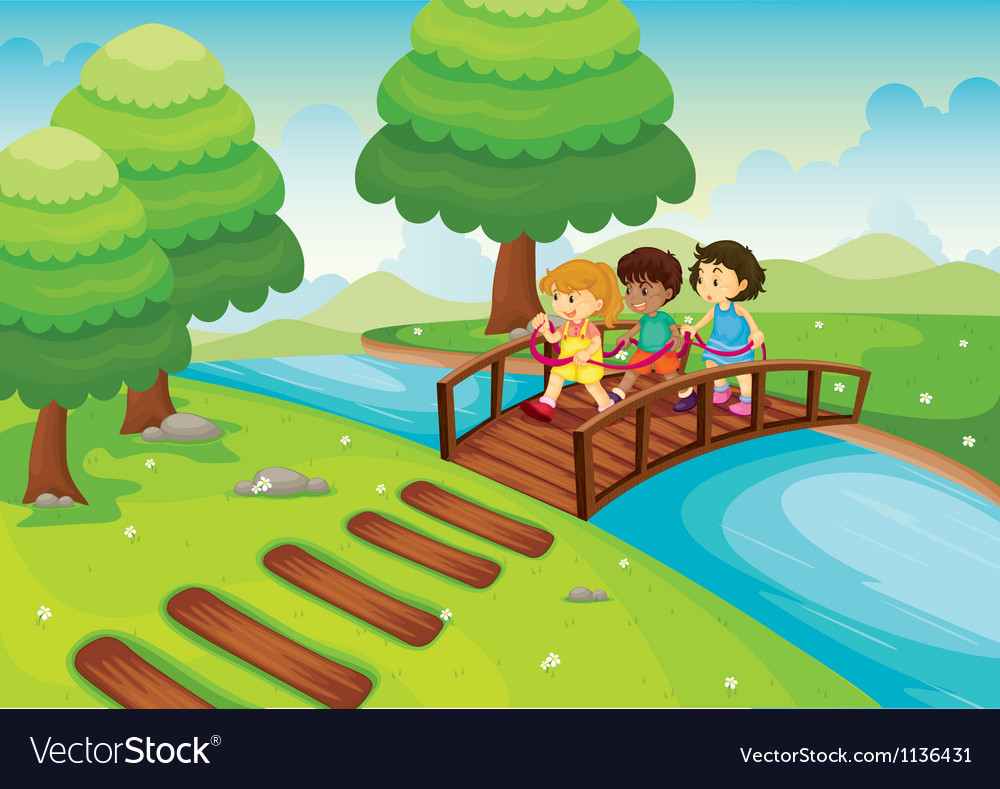 Kids crossing bridge vector | Price: 1 Credit (USD $1)