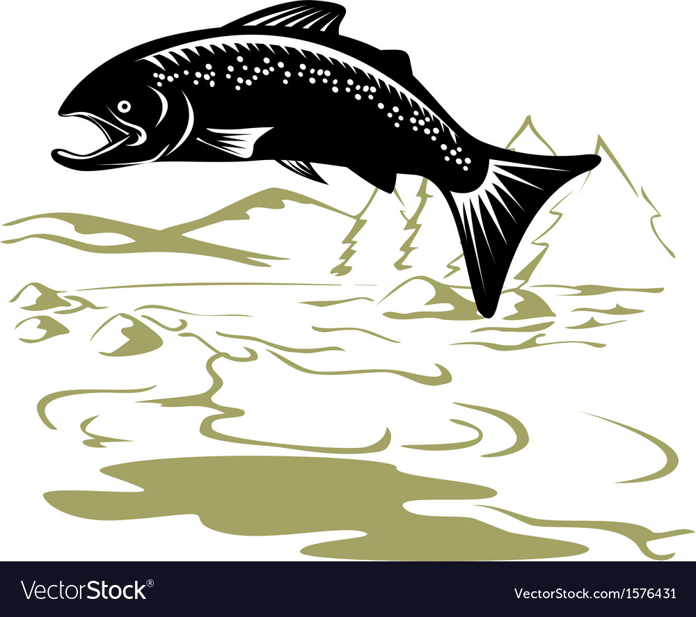 Salmon fish jumping retro vector | Price: 1 Credit (USD $1)