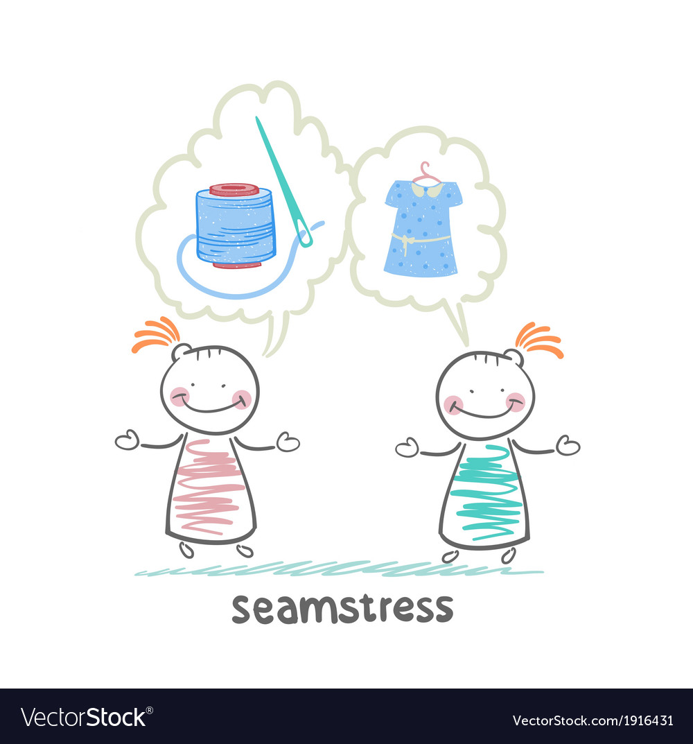 Seamstress says with a client about threads vector   Price: 1 Credit (USD $1)