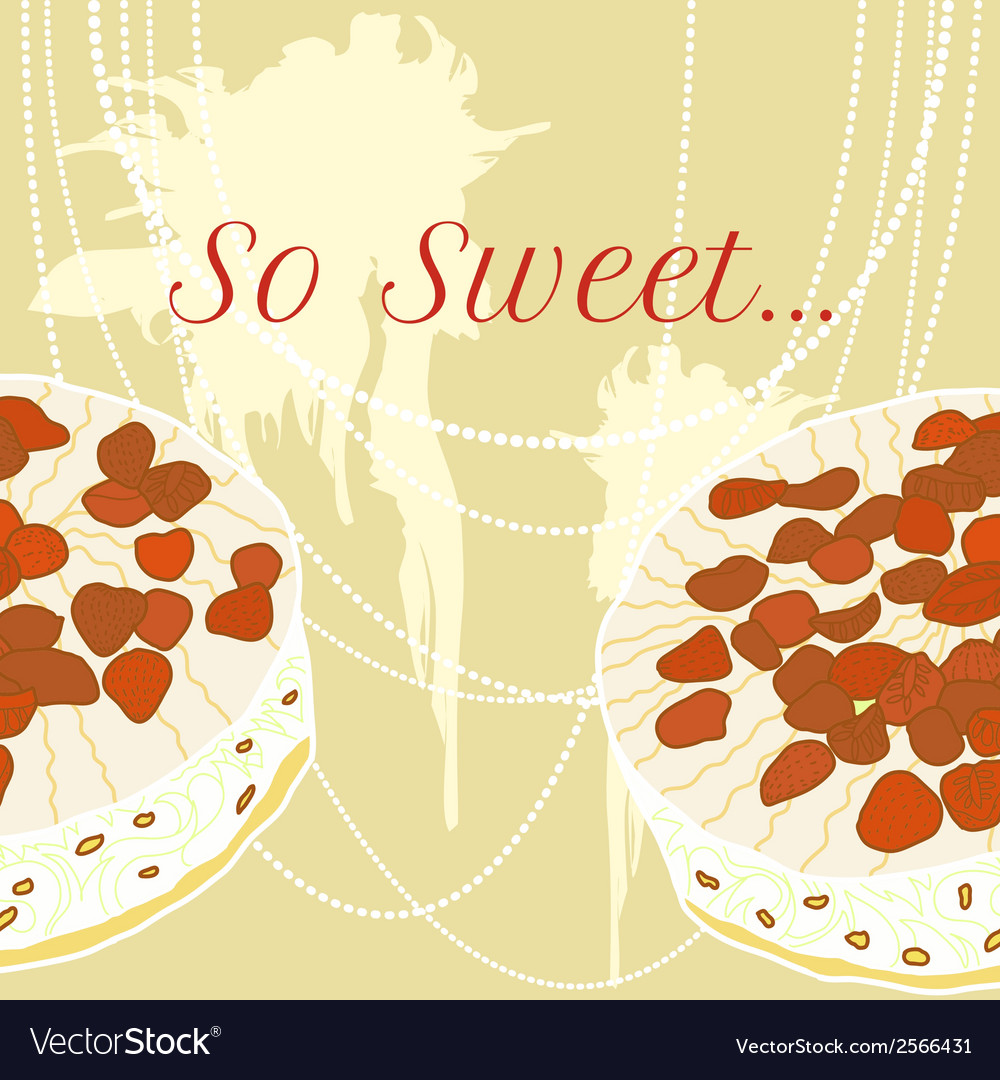 Strawberry pie for invitation vector | Price: 1 Credit (USD $1)