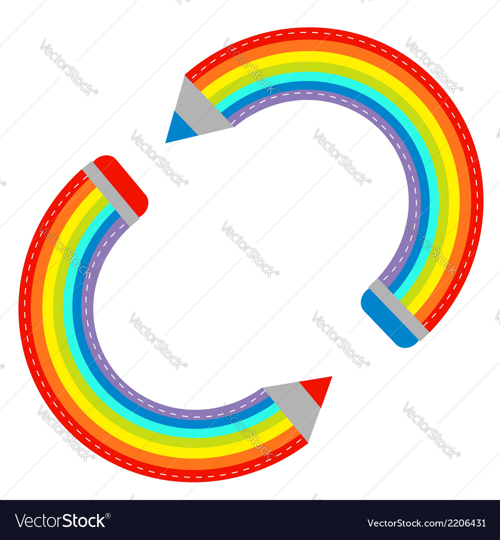 Two colored pencils in shape of rainbow isolated vector | Price: 1 Credit (USD $1)