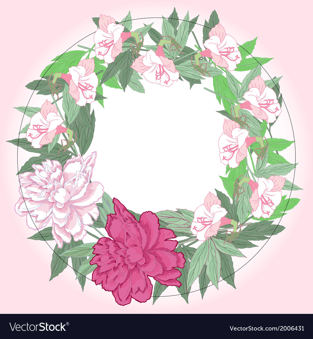 Wreath with pink peonies and flowers vector   Price: 1 Credit (USD $1)