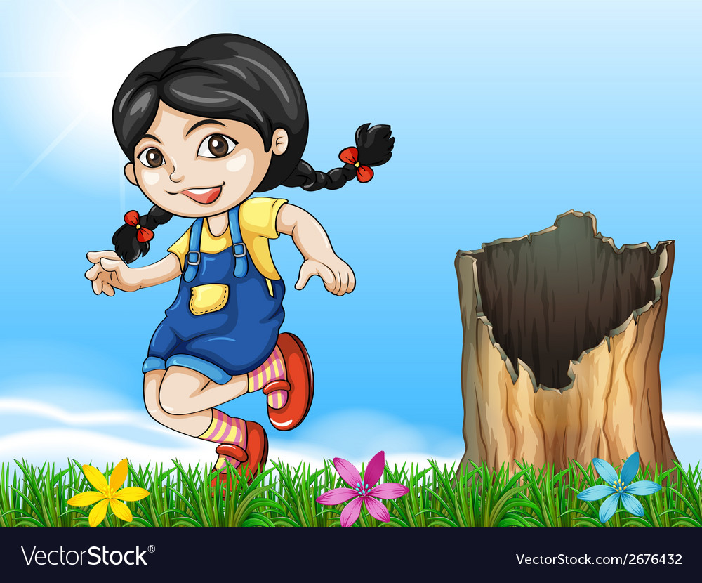 A girl playing beside the stump vector | Price: 3 Credit (USD $3)