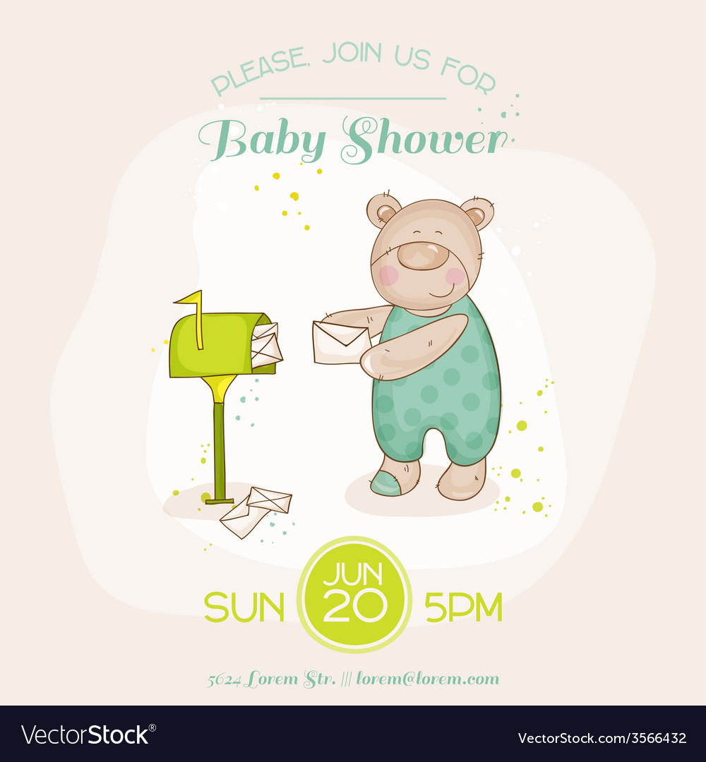 Baby shower or arrival card - with baby bunny vector | Price: 1 Credit (USD $1)