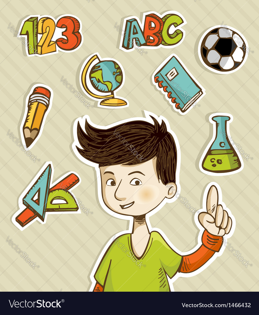 Back to school cartoon kid vector | Price: 1 Credit (USD $1)