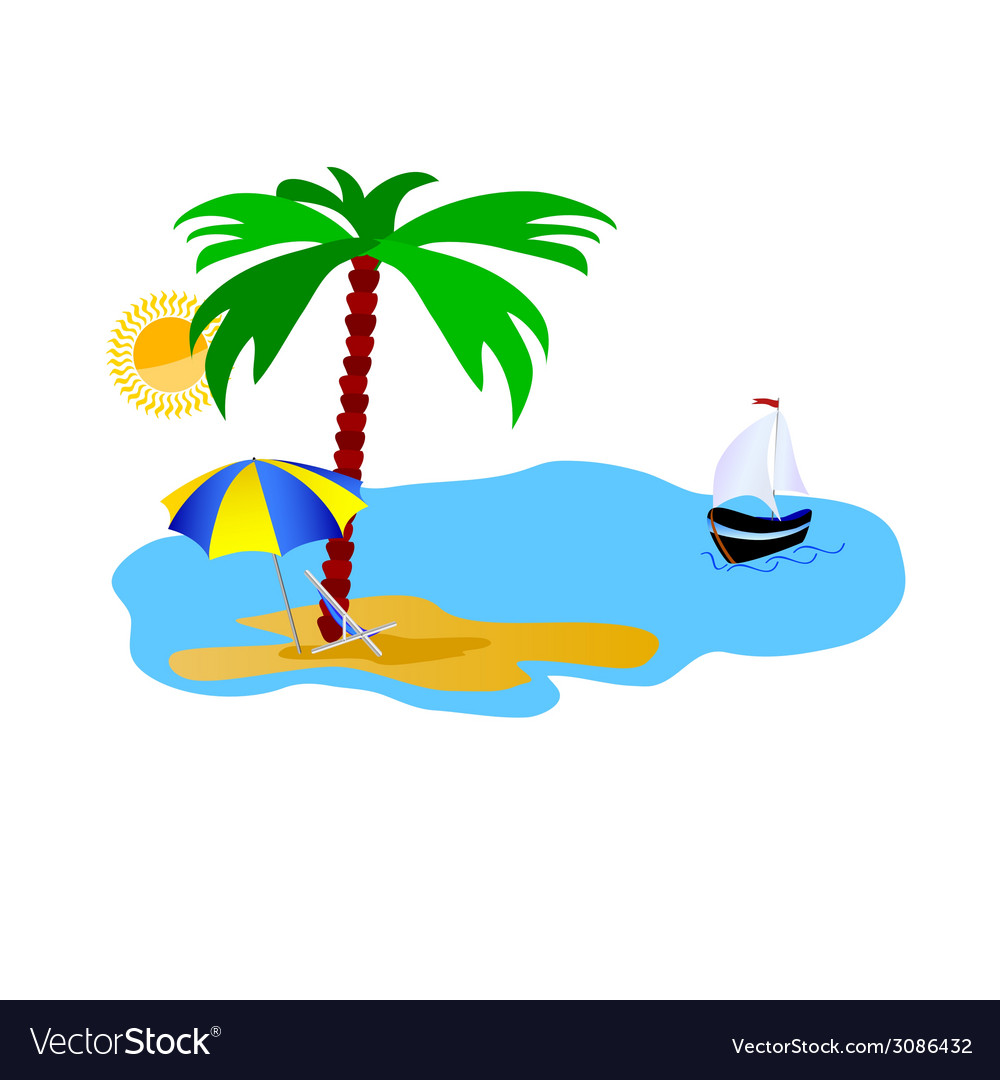 Beach with stuff on white vector | Price: 1 Credit (USD $1)