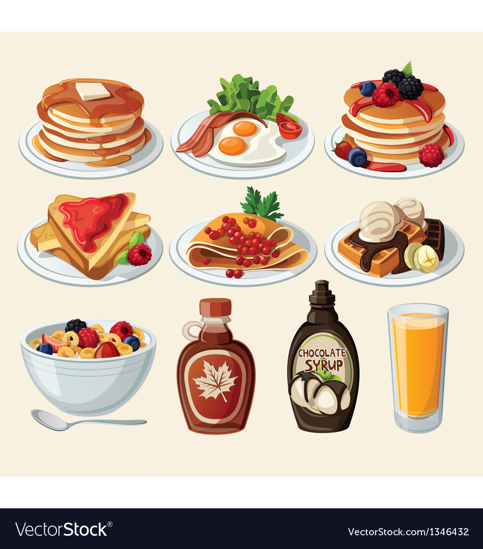 Classic breakfast cartoon set vector | Price: 3 Credit (USD $3)