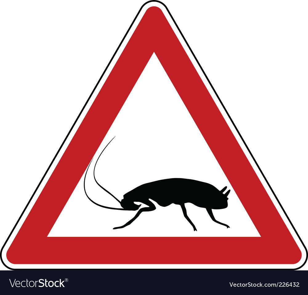 Cockroach warning sign vector   Price: 1 Credit (USD $1)