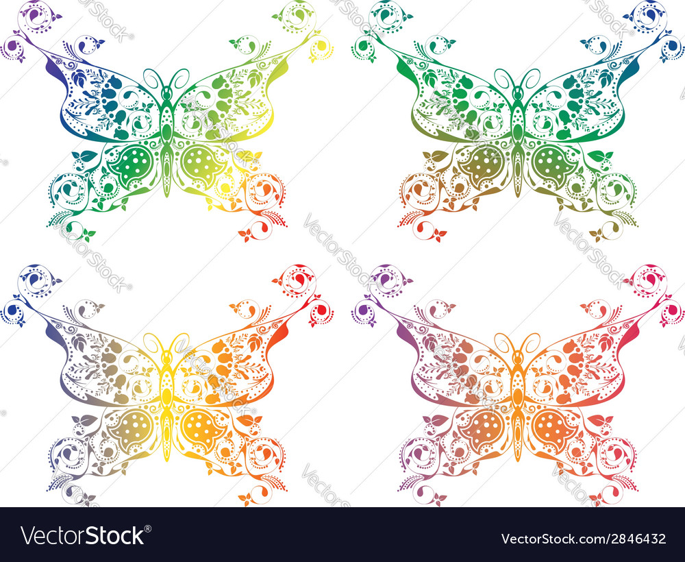 Colorful butterflies set5 vector | Price: 1 Credit (USD $1)