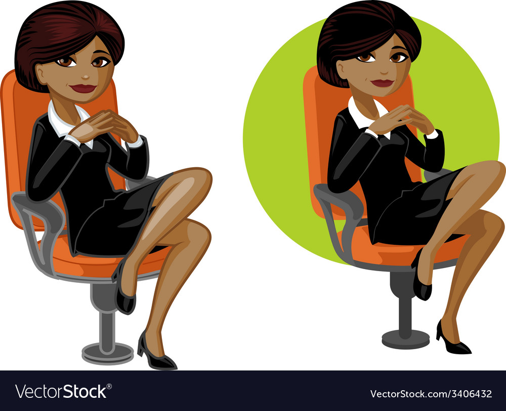 Cute young african american office woman on chair vector | Price: 3 Credit (USD $3)