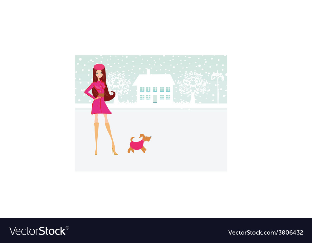 Fashion winter girl walk with her dog vector | Price: 1 Credit (USD $1)