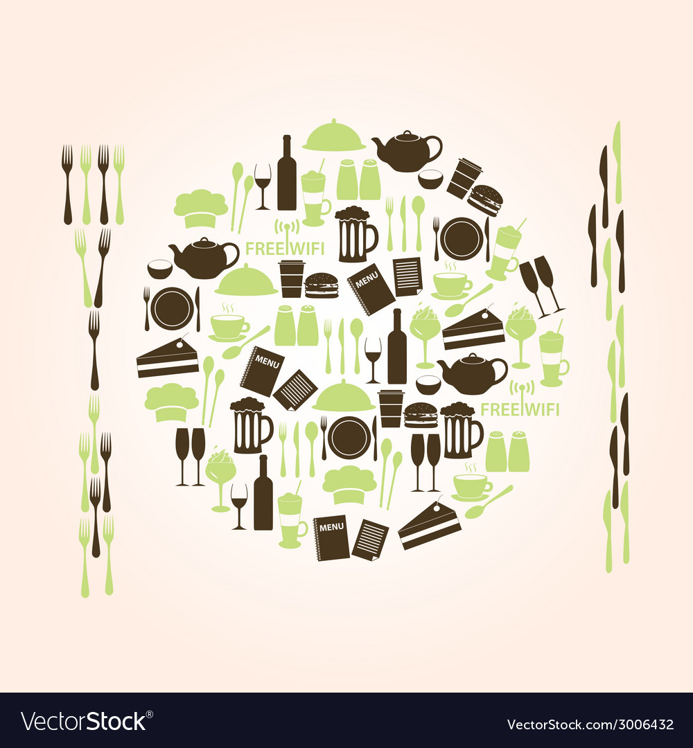 Restaurant and pub icons plate shape eps10 vector | Price: 1 Credit (USD $1)