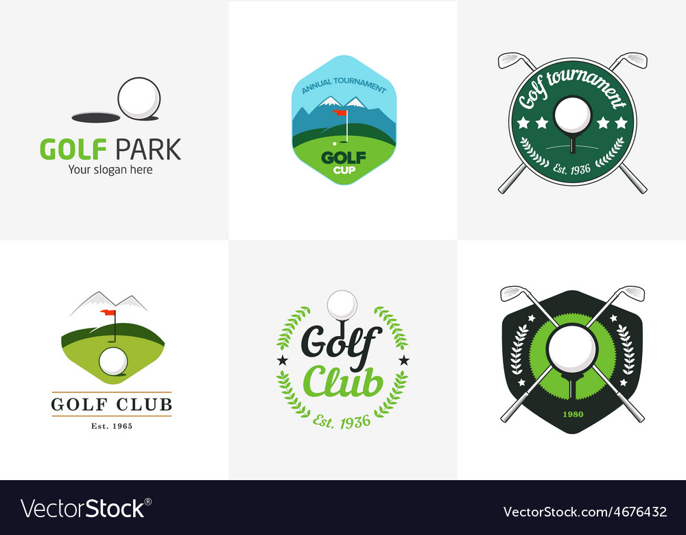 Set of vintage color golf championship logos vector | Price: 1 Credit (USD $1)