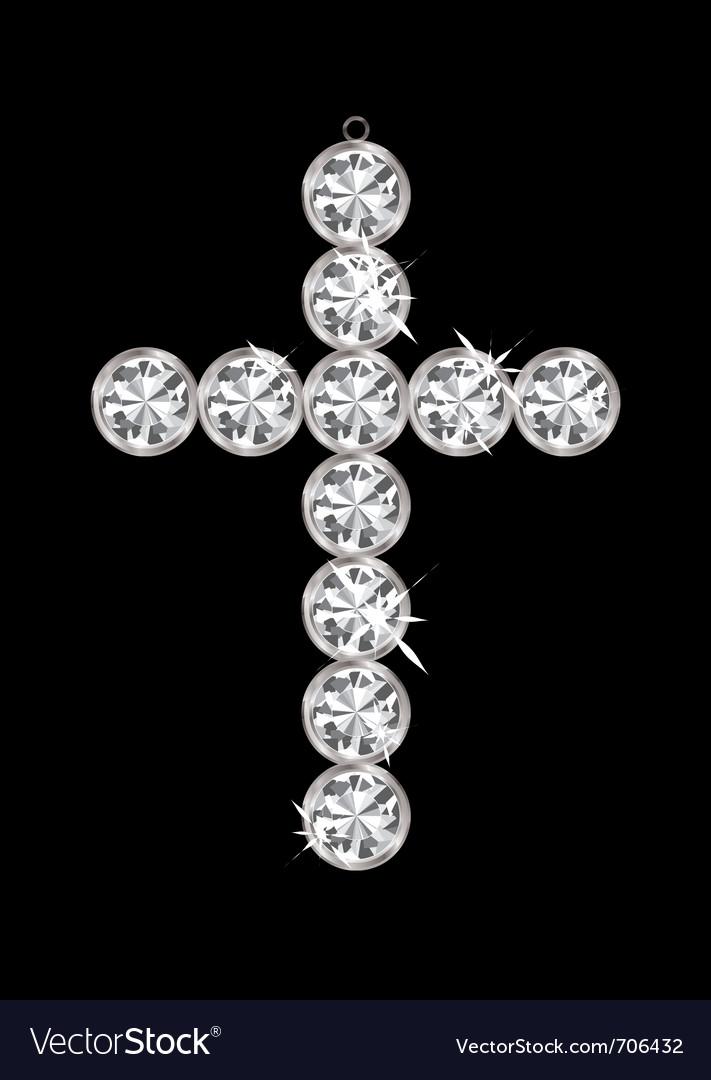 Silver diamond cross vector | Price: 1 Credit (USD $1)