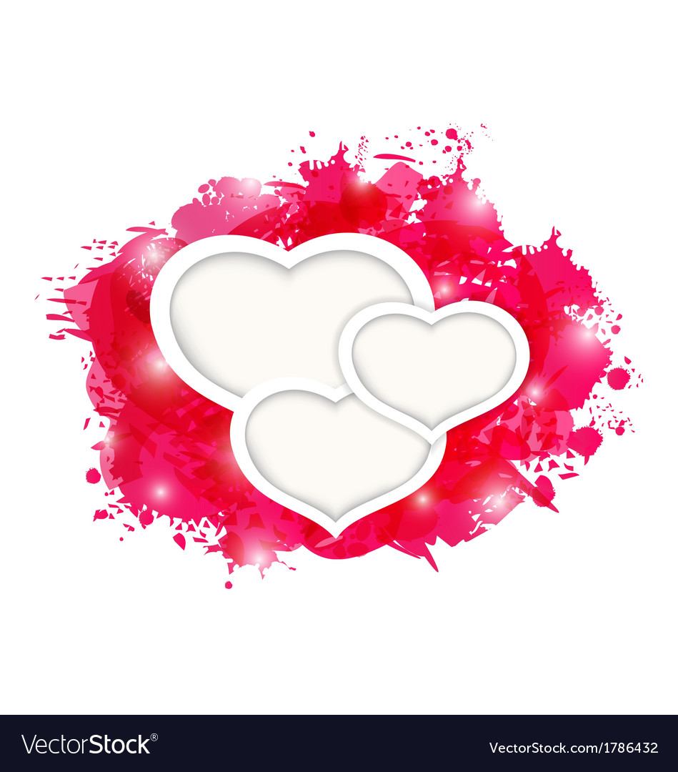 Valentines day grunge card with beautiful hearts vector | Price: 1 Credit (USD $1)