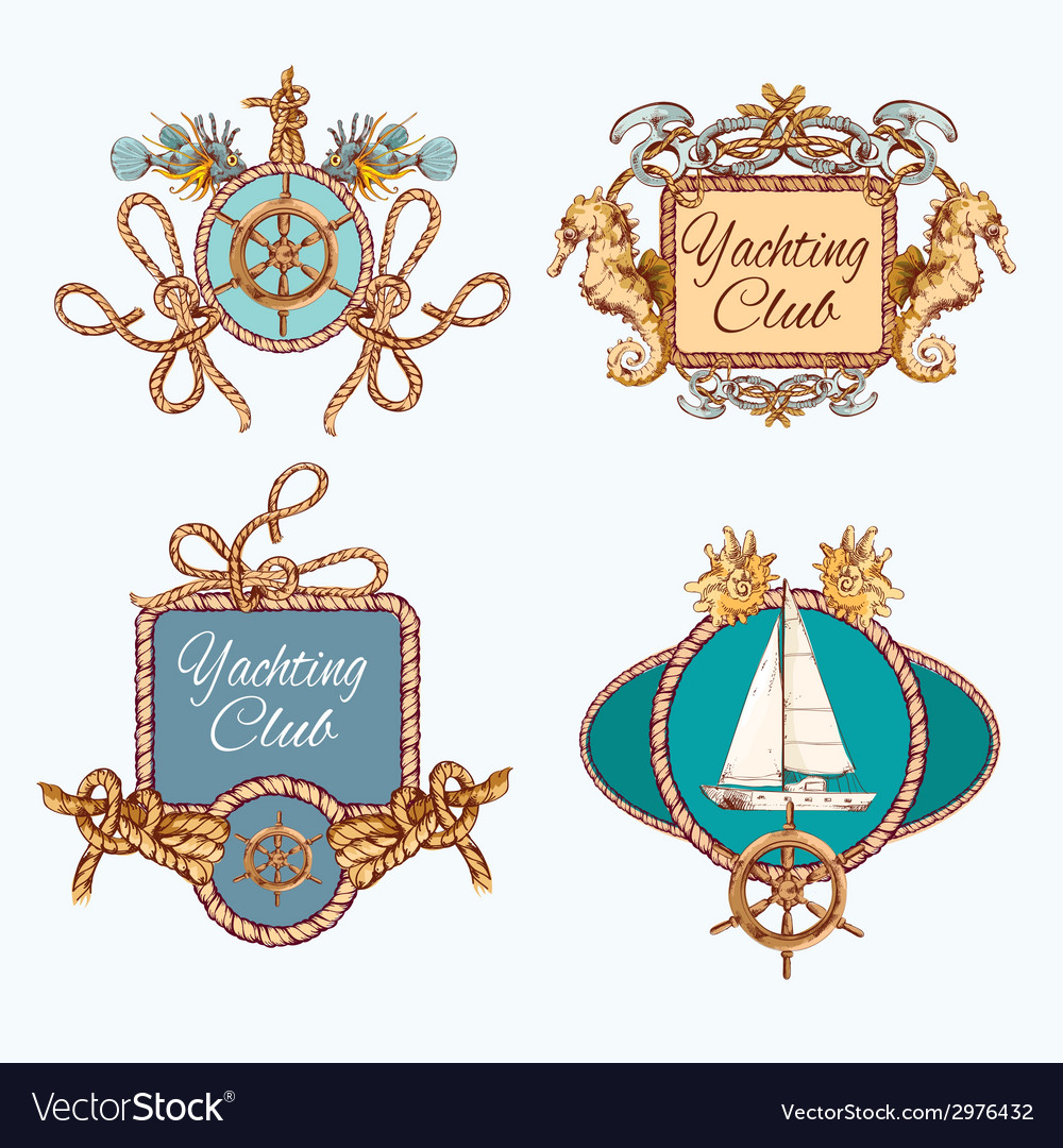 Yachting sketch emblems set vector | Price: 1 Credit (USD $1)