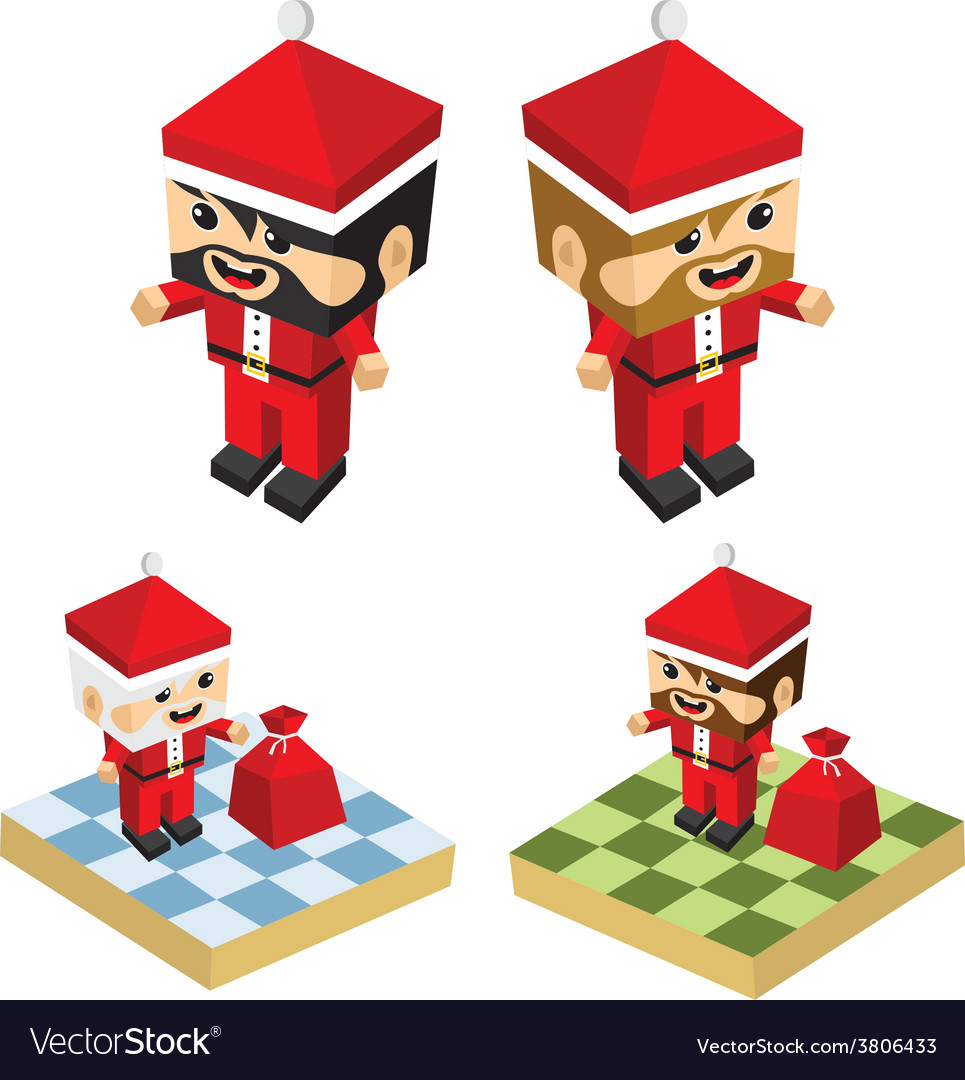 Christmas block isometric cartoon character vector | Price: 1 Credit (USD $1)