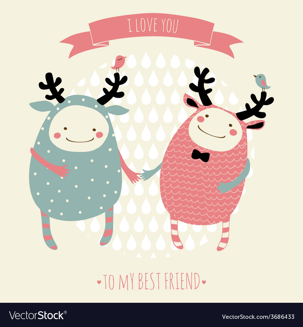Cute romantic cartoon card with lovely monsters vector | Price: 1 Credit (USD $1)