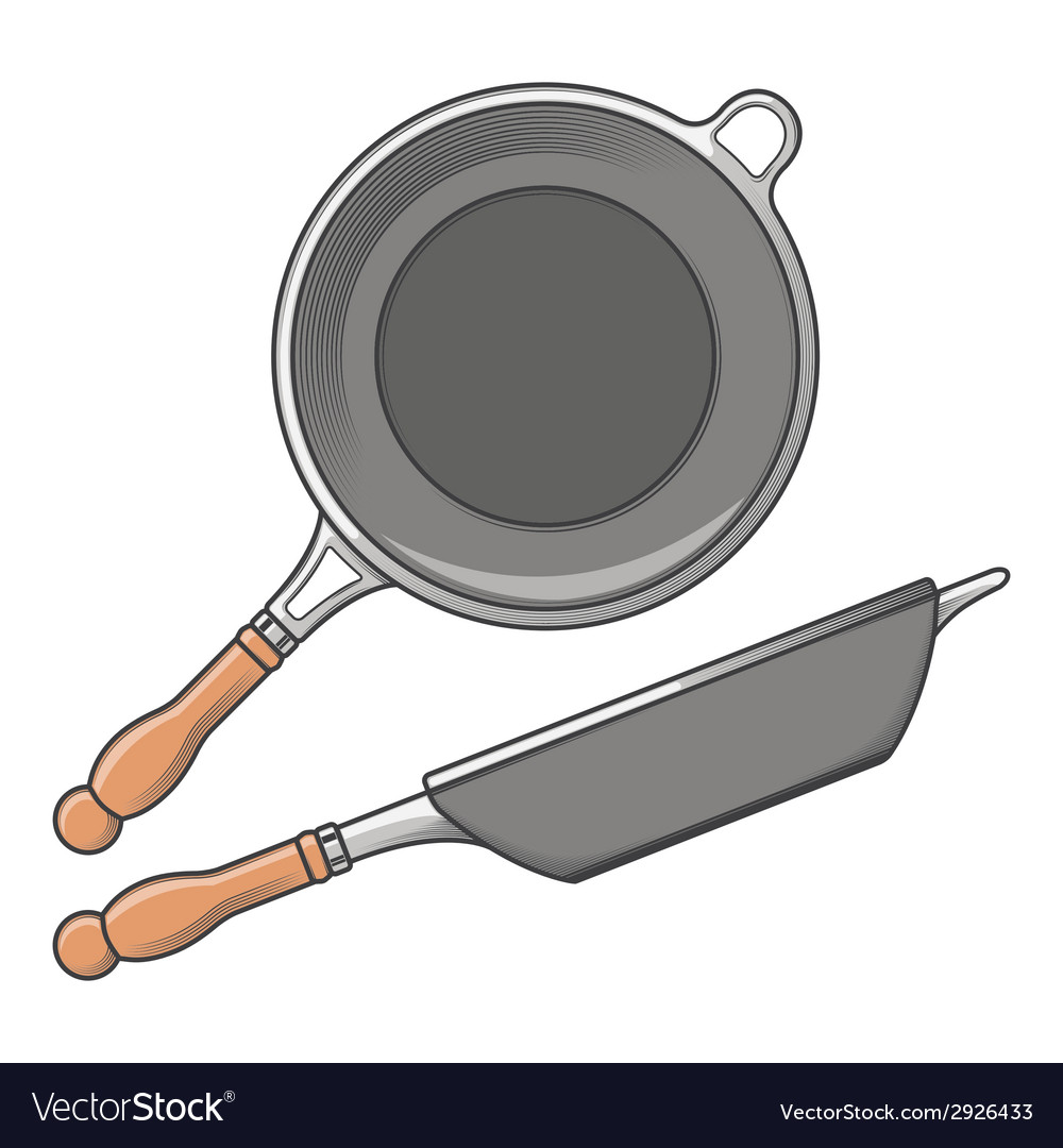 Frying pans side and top view vector | Price: 1 Credit (USD $1)