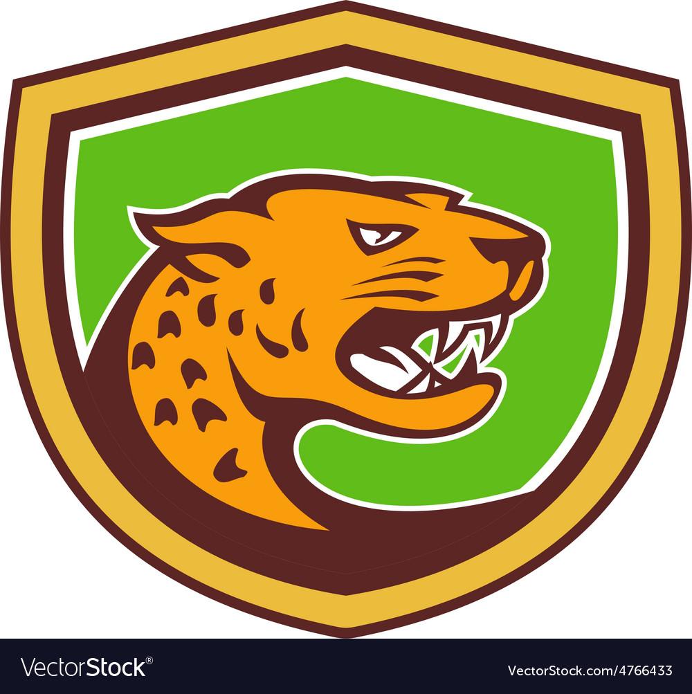 Jaguar head side growling shield retro vector | Price: 1 Credit (USD $1)