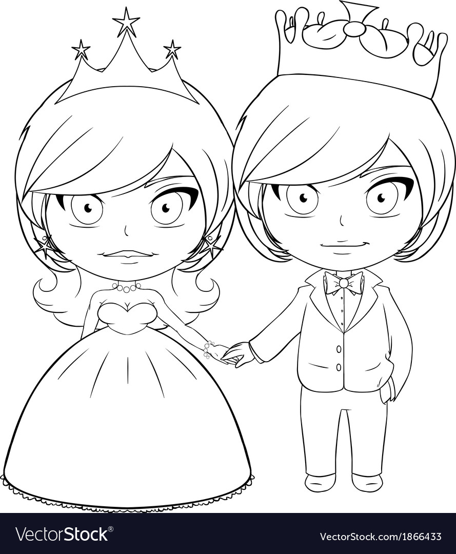 Prince and princess coloring page 3 vector | Price: 1 Credit (USD $1)