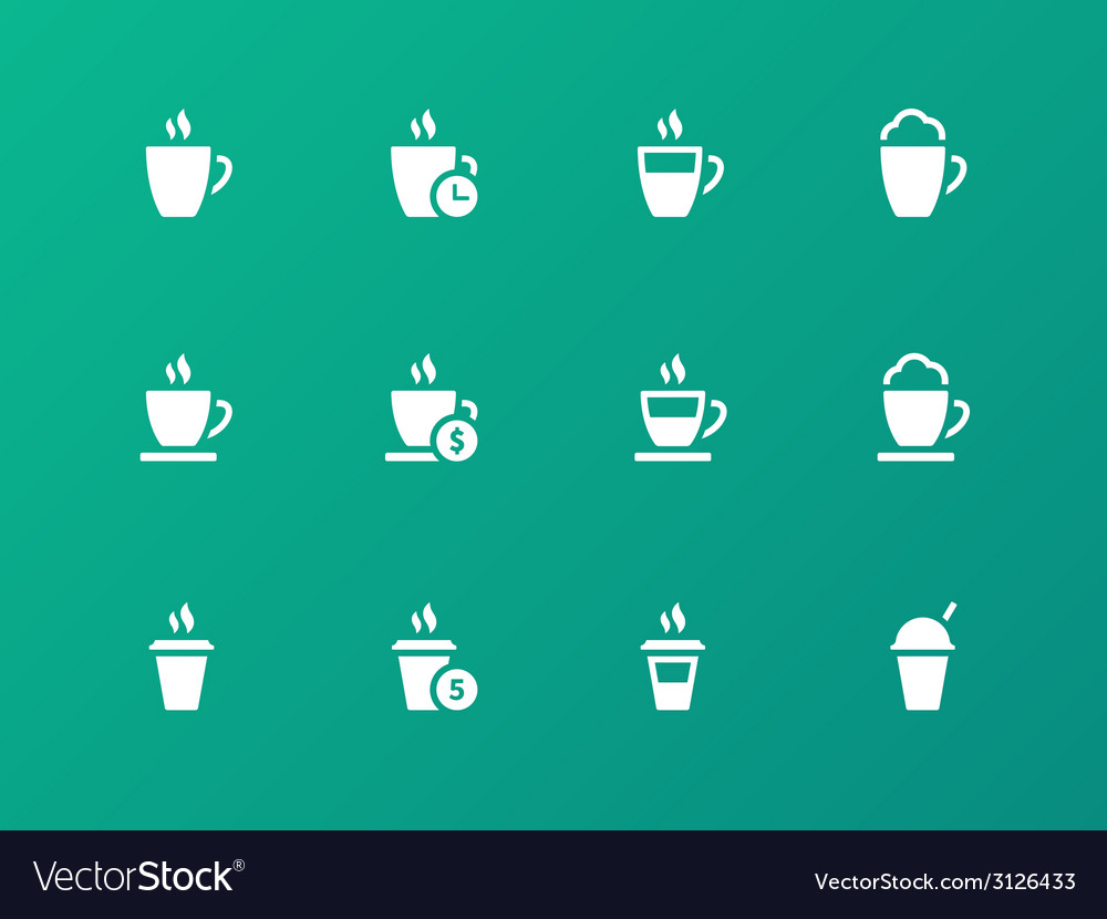 Set of coffee cup on green background icons vector | Price: 1 Credit (USD $1)