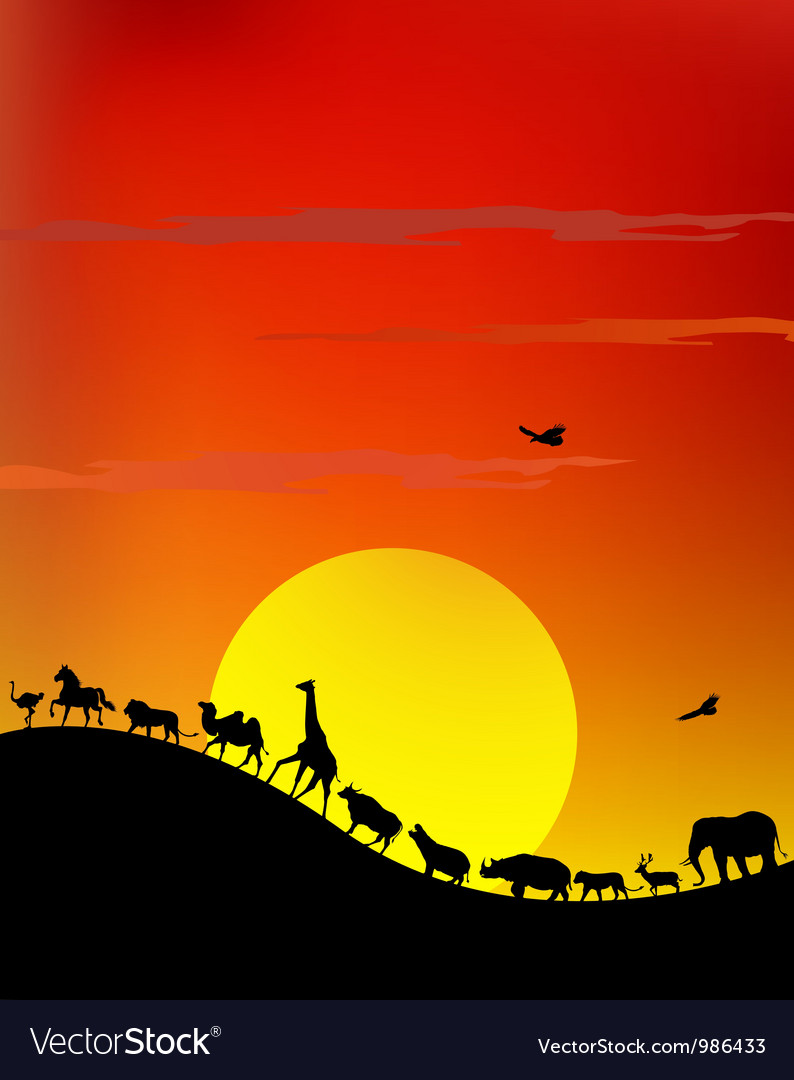 Silhouette of wildlife safari vector | Price: 1 Credit (USD $1)