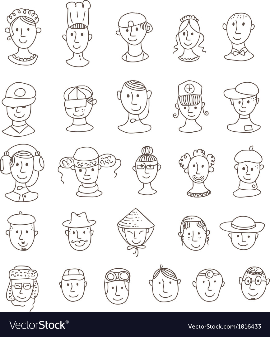 Smiling various faces vector | Price: 1 Credit (USD $1)