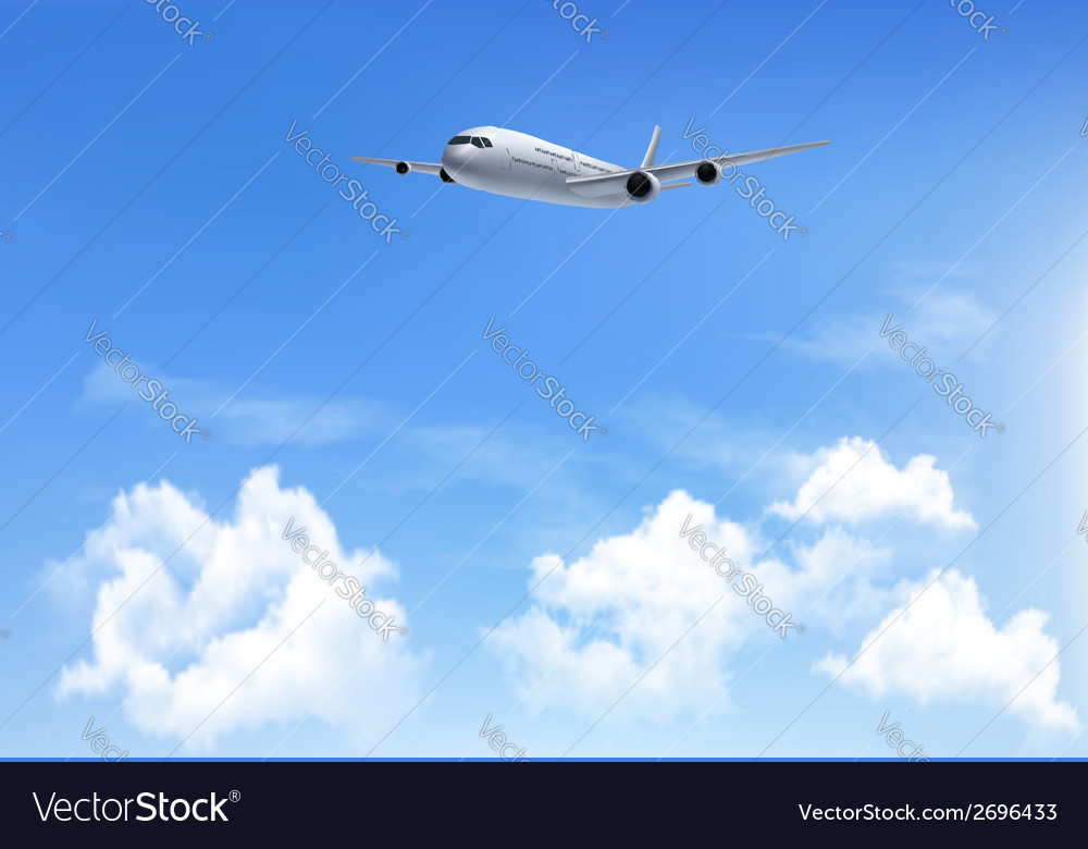 Travel background with an airplane and white vector | Price: 1 Credit (USD $1)