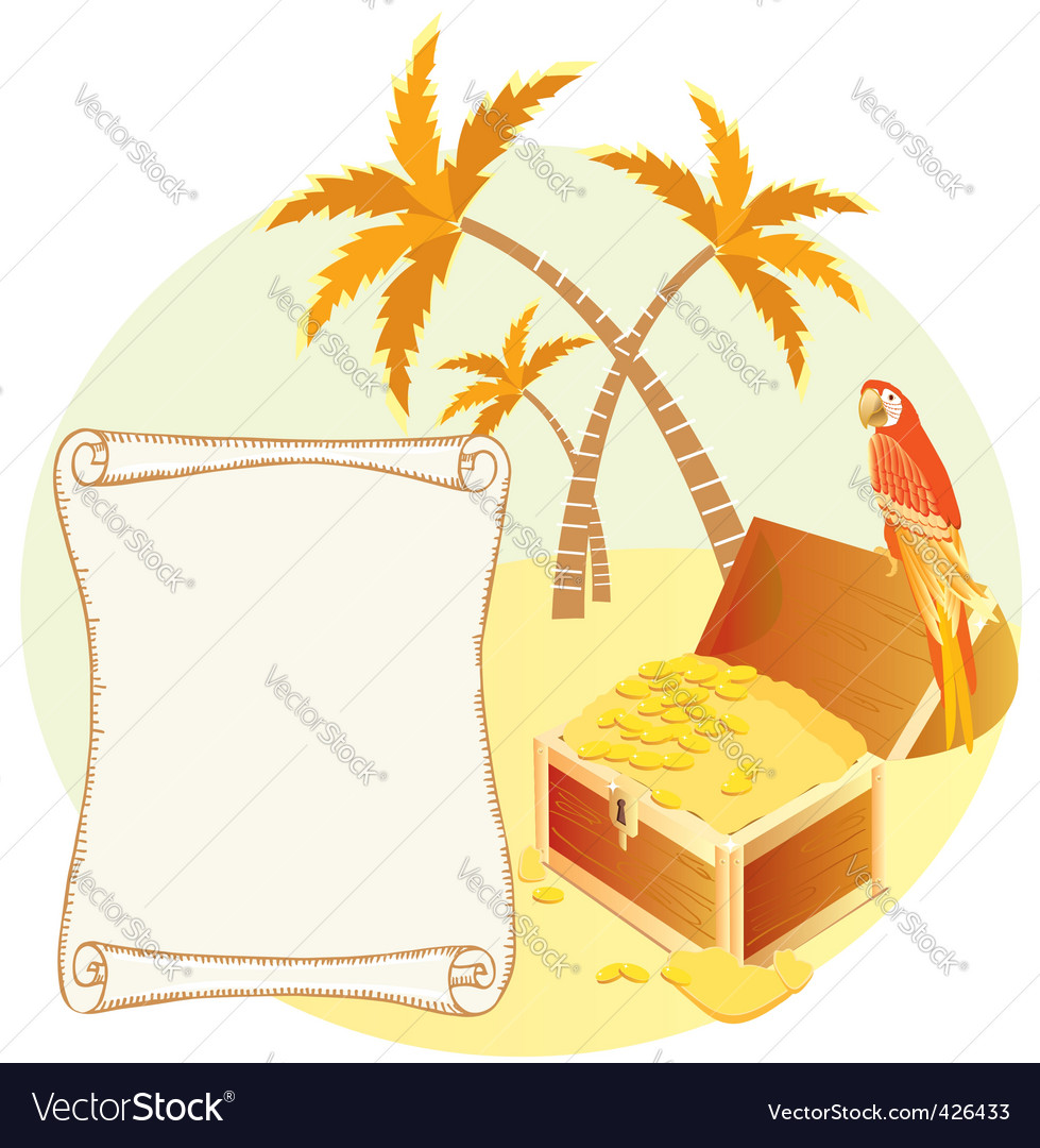 Treasure island scene vector | Price: 1 Credit (USD $1)