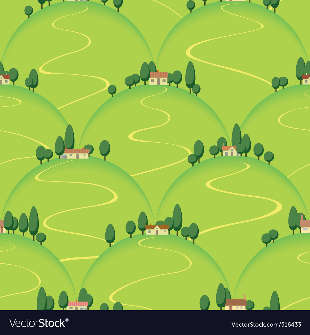 Tuscan landscape country house on hill vector | Price: 1 Credit (USD $1)