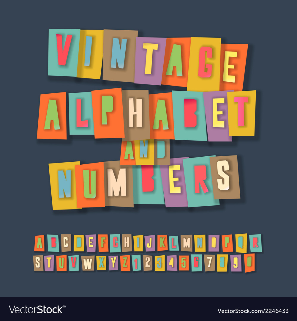Vintage alphabet and numbers collage paper design vector | Price: 1 Credit (USD $1)