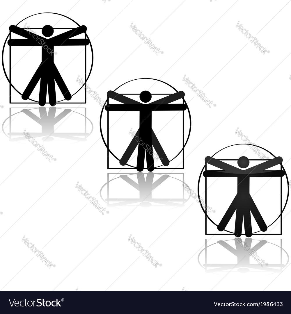Vitruvian icon vector | Price: 1 Credit (USD $1)