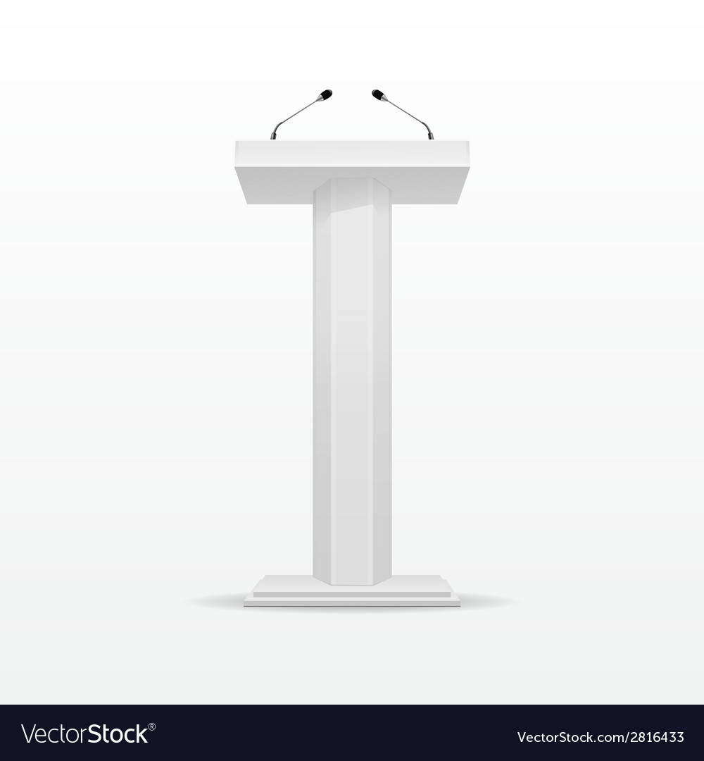 White podium tribune rostrum stand with microphone vector | Price: 1 Credit (USD $1)