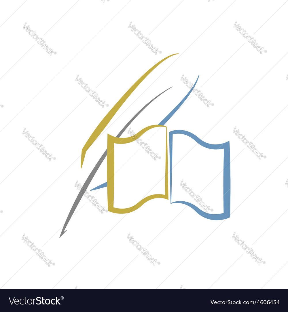 Book and feather education or literature logo vector