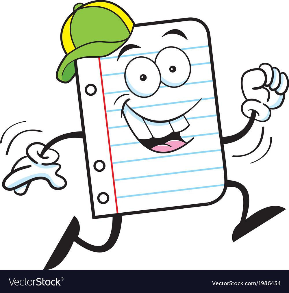 Cartoon notebook paper running vector | Price: 1 Credit (USD $1)