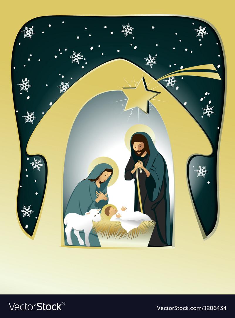 Christmas nativity scene vector | Price: 3 Credit (USD $3)