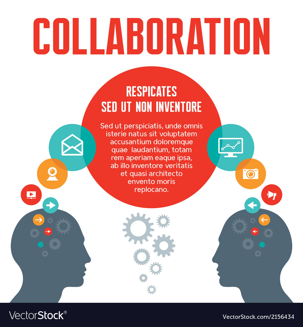 Collaboration - with human heads vector | Price: 1 Credit (USD $1)