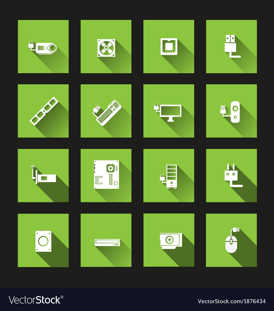 Computer hardware icons long shadow vector | Price: 1 Credit (USD $1)