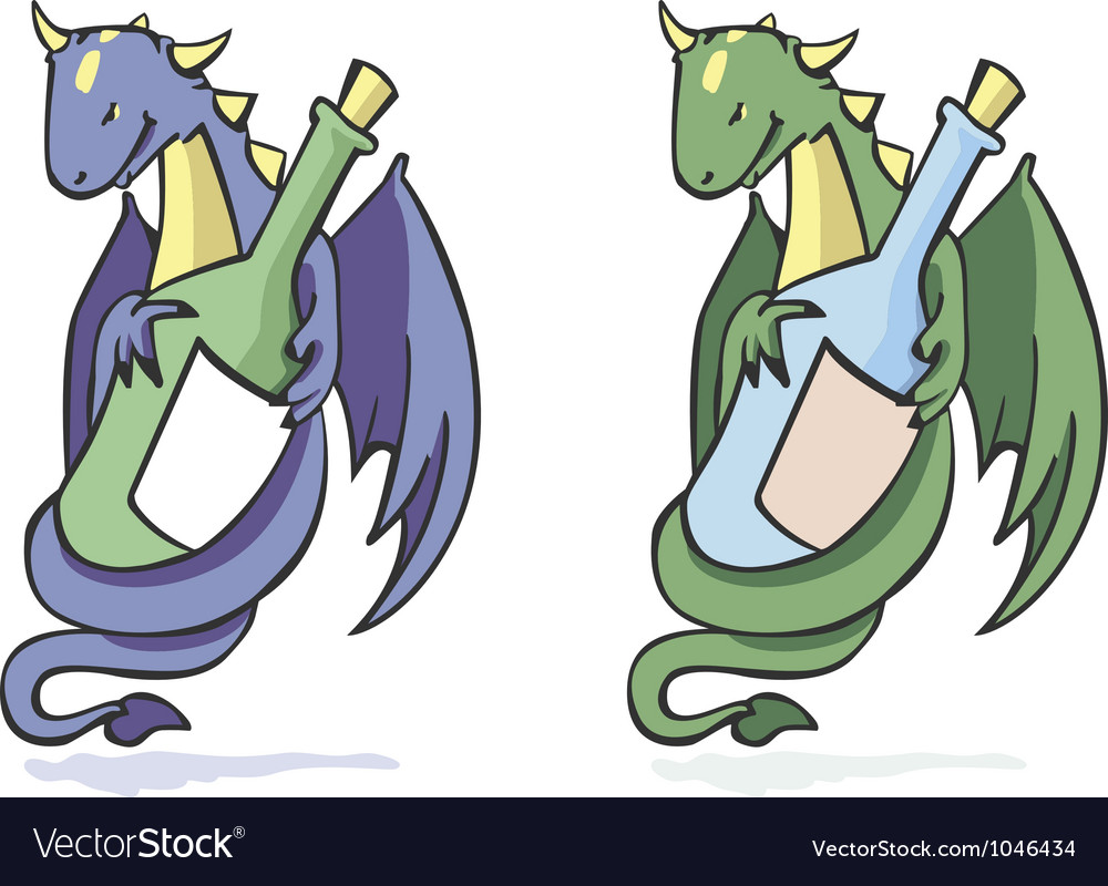 Dragon and bottle vector | Price: 1 Credit (USD $1)