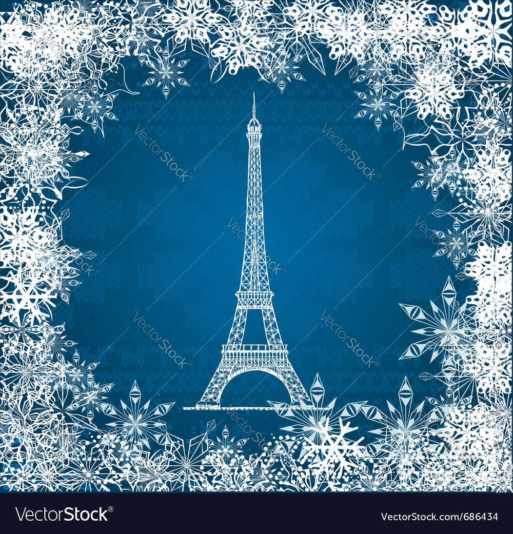 Eiffel tower snowflakes vector | Price: 1 Credit (USD $1)