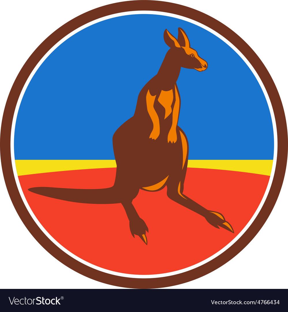 Kangaroo circle retro vector | Price: 1 Credit (USD $1)