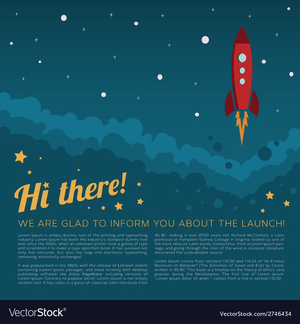 Project launch rocket in space background vector | Price: 1 Credit (USD $1)