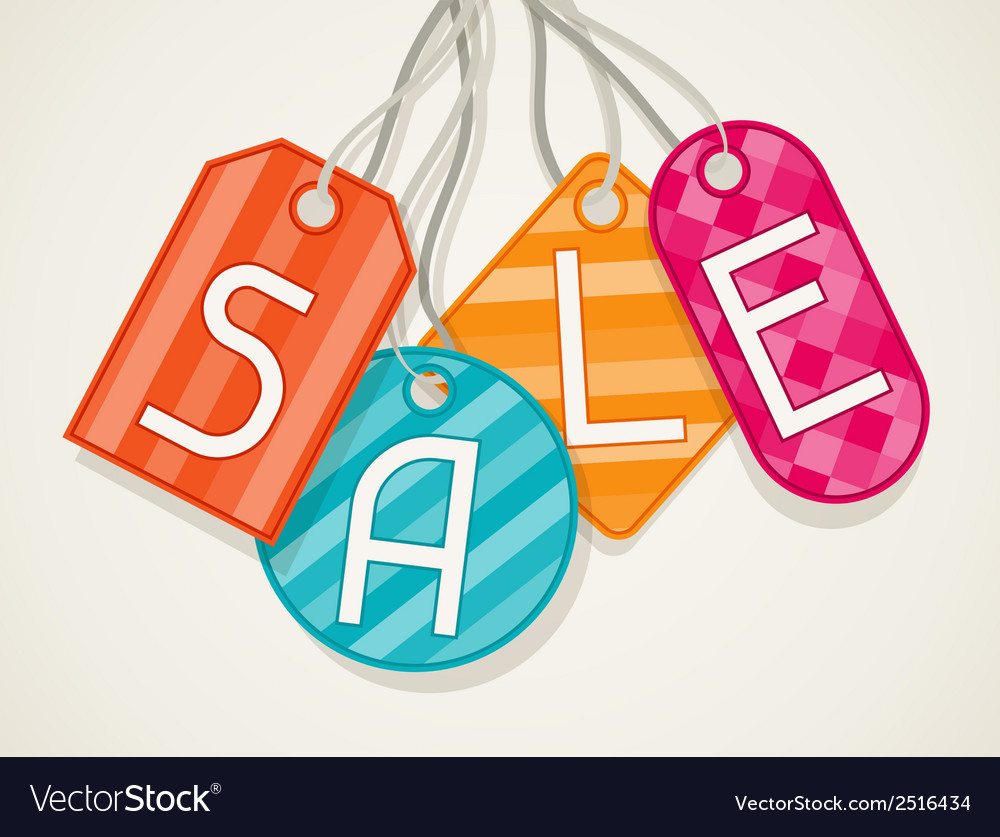 Sale poster with price labels in flat design style vector | Price: 1 Credit (USD $1)