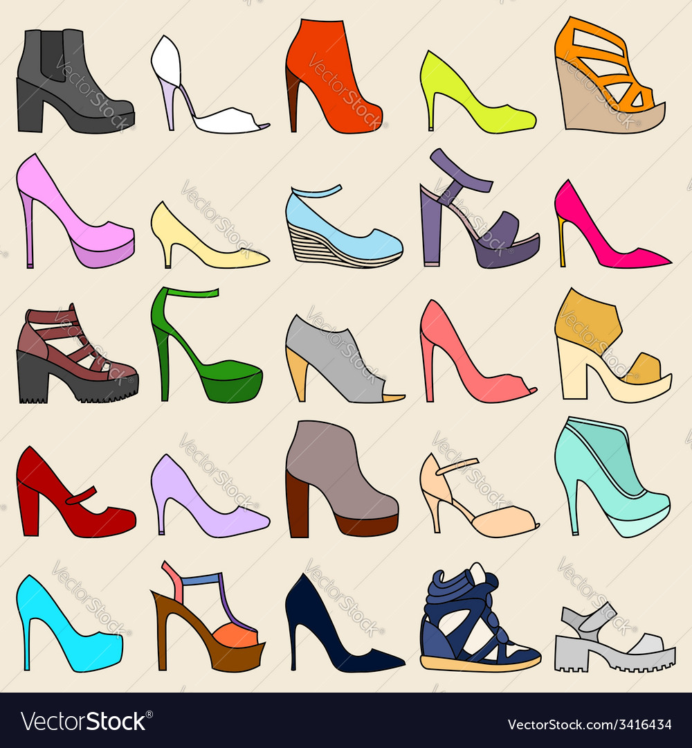 Set of 25 fashionable shoes vector | Price: 1 Credit (USD $1)