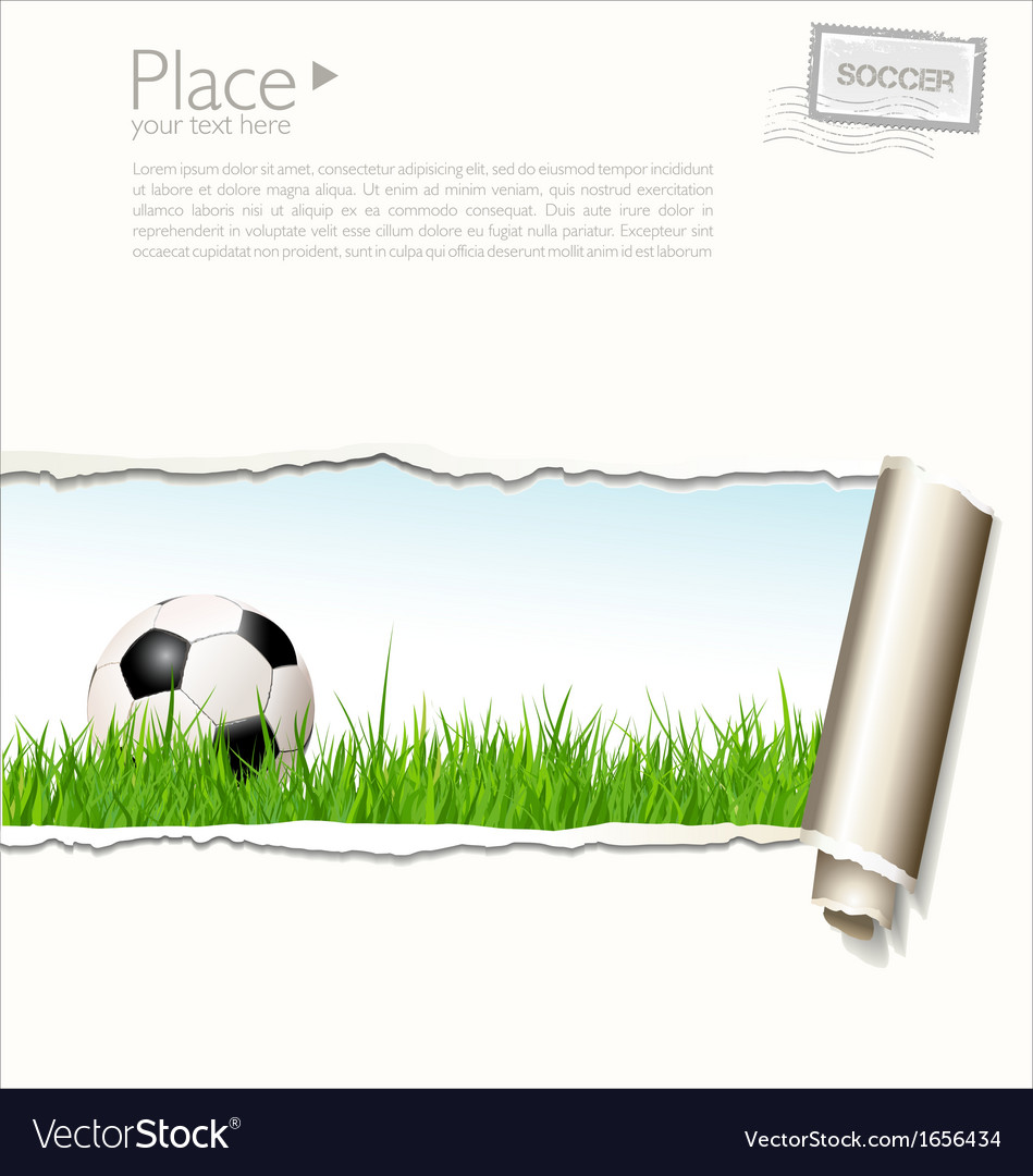 Soccer background with torn paper vector | Price: 1 Credit (USD $1)