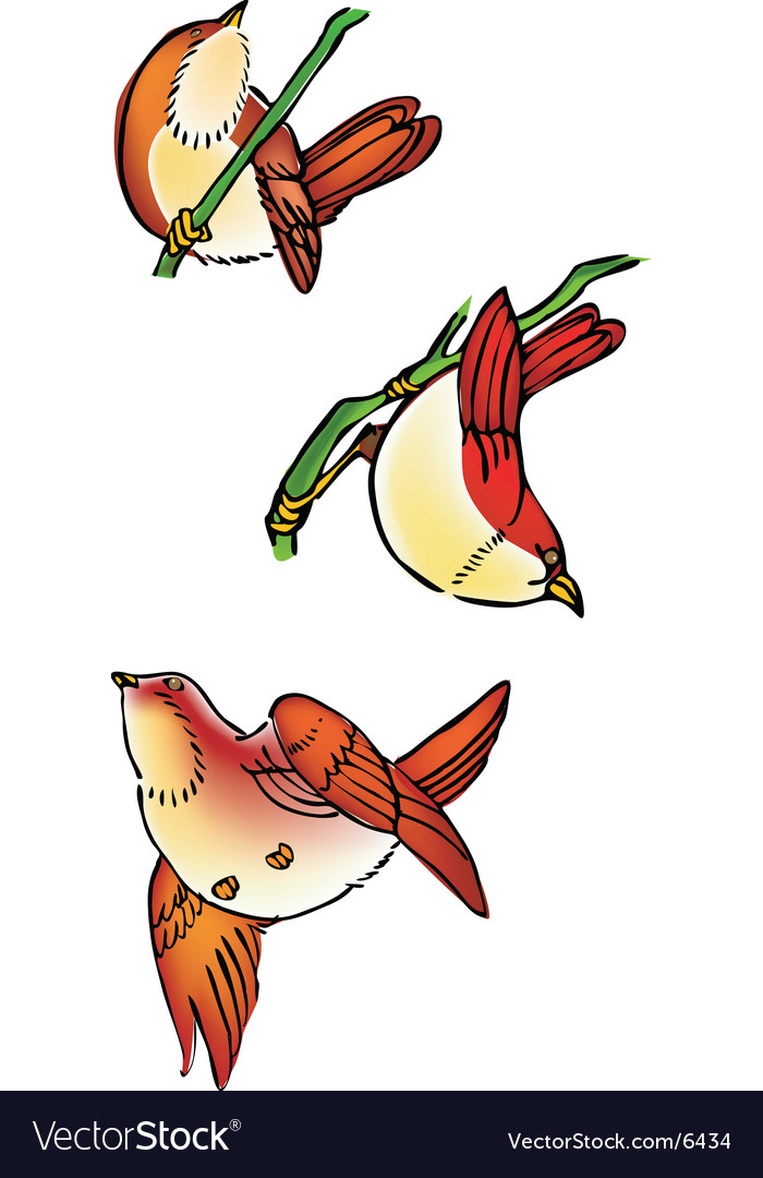 Three birds vector   Price: 3 Credit (USD $3)