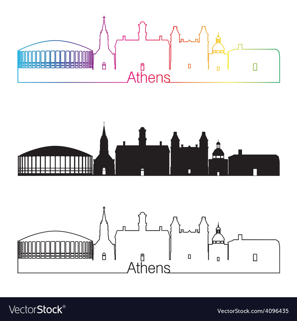 Athens skyline linear style with rainbow vector | Price: 1 Credit (USD $1)